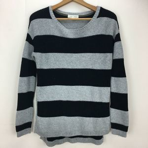 Nordstrom Gray Black Stripe Crewneck Sweater